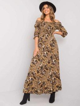Sukienka-DHJ-SK-13965.71P-ciemny bezowy