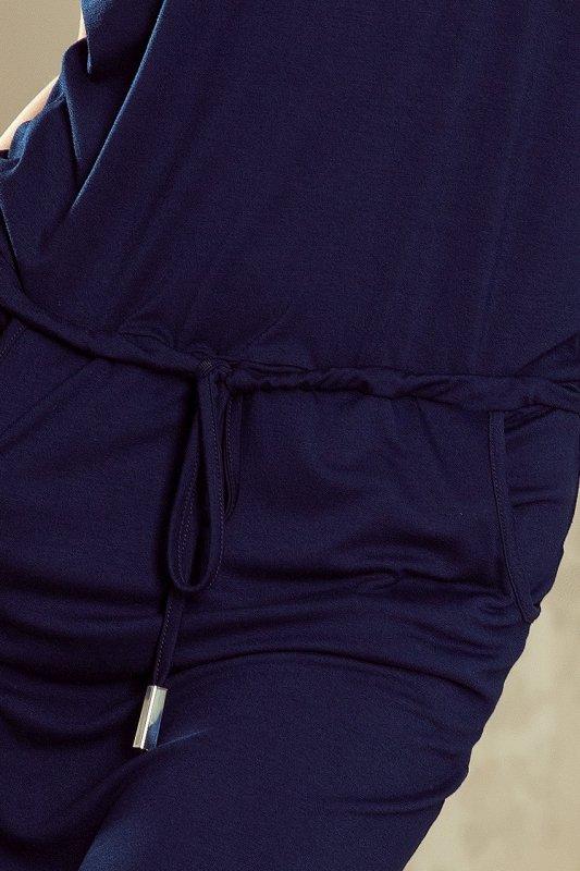 196-1 Sukienka sportowa z krótkim rękawkiem i kieszonką - GRANATOWA