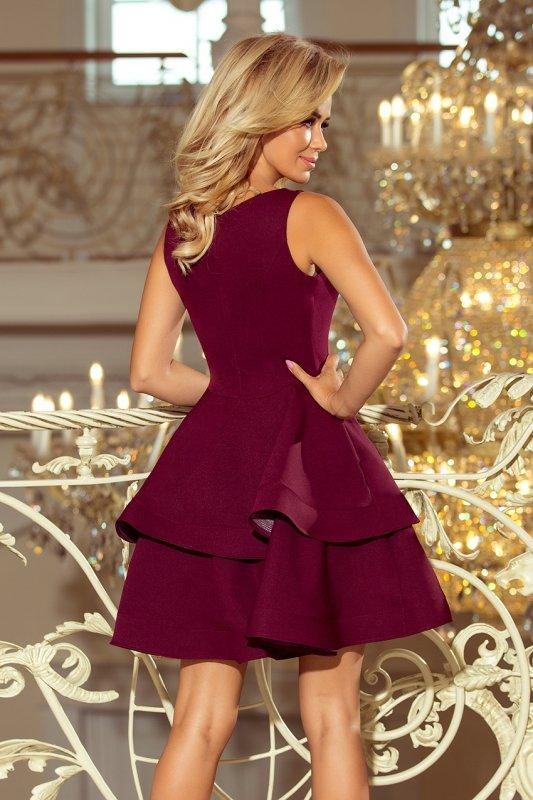 169-7 Sukienka CRISTINA rozkloszowana - BORDOWA