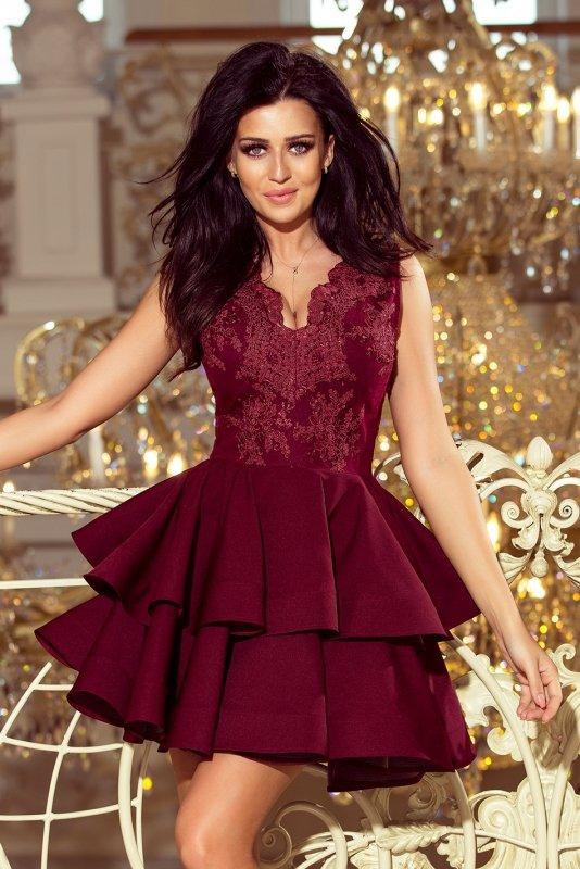 200-8 CHARLOTTE - ekskluzywna sukienka z koronkowym dekoltem - BORDOWA