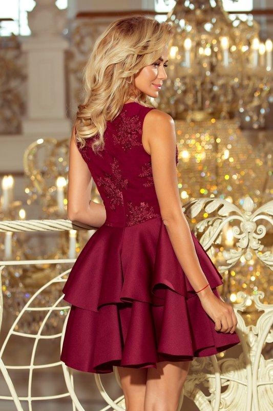 207-1 ALEXIS - ekskluzywna sukienka z koronkowym dekoltem i pianką - BORDOWA