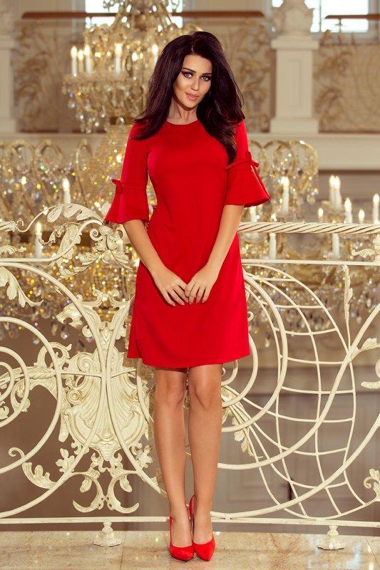 217-1 NEVA Trapezowa sukienka z rozkloszowanymi rękawkami - CZERWONA