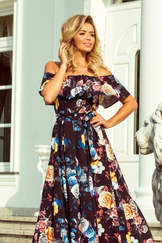 194-3 Długa suknia z hiszpańskim dekoltem - czarna w kolorowe kwiaty