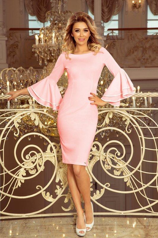 188-4 CARMEN sukienka z hiszpańskimi rękawkami - PASTELOWY RÓŻ