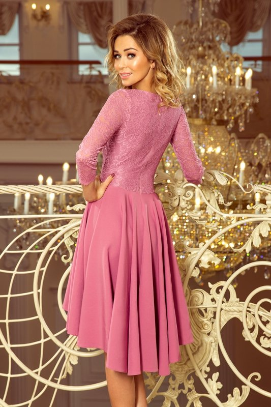 231-2 OLIVIA - sukienka z dłuższym tyłem i koronką - LILA
