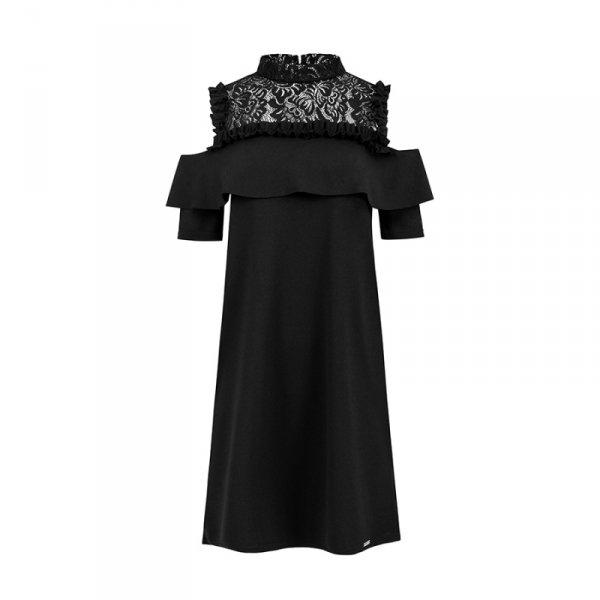 247-1 Luźna sukienka z koronką i odkrytymi ramionami - CZARNA