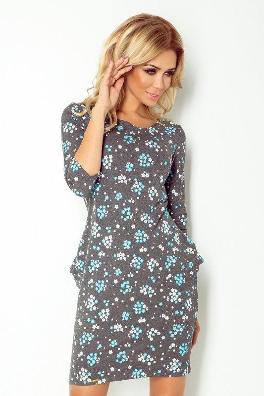40-9 Jola sukienka z kieszeniami - GRAFIT + niezapominajka