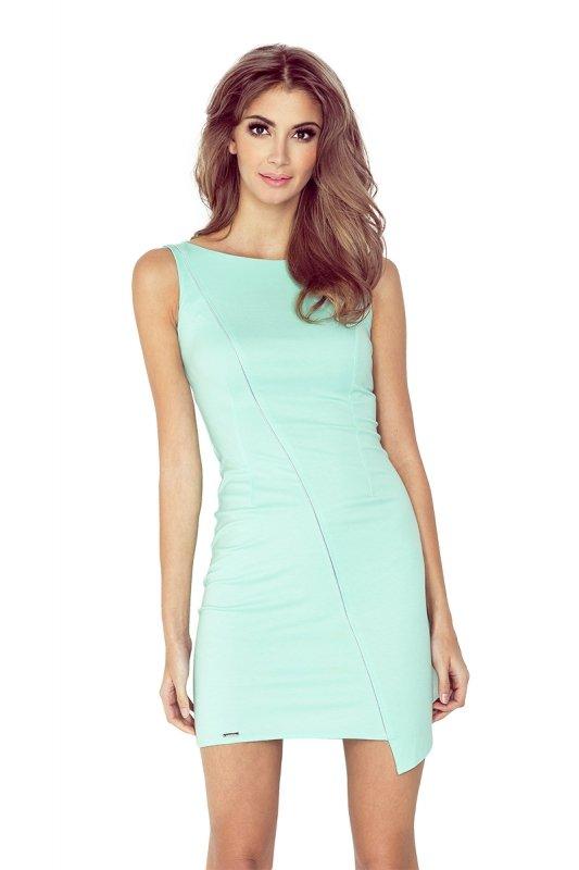 MM 004-3 Sukienka asymetryczna z lamówką - MIĘTA