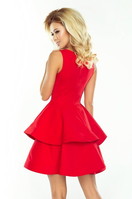 169-1 Sukienka CRISTINA rozkloszowana - CZERWONA