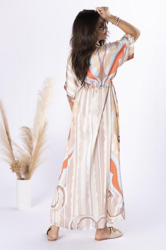 satynowa sukienka maxi z printem