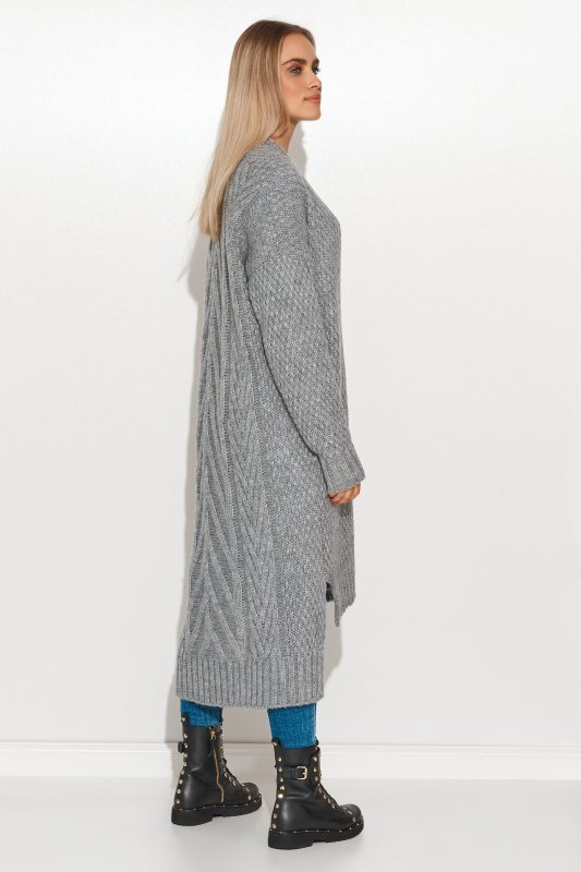 Moherowy sweter damski z przedłużanym tyłem i złotymi guzikami szary melanż S125