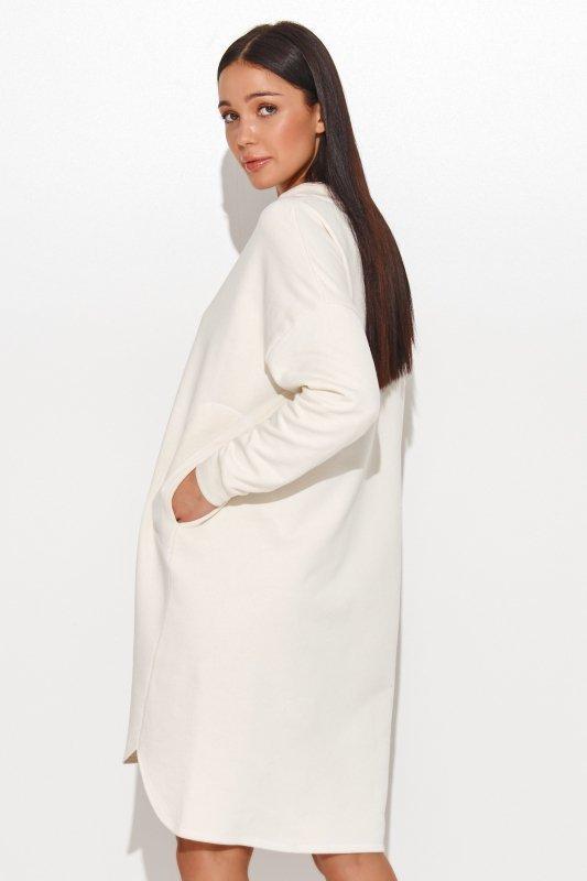 Dresowa sukienka oversize śmietankowa NU270
