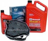 Filtr oleju oraz syntetyczny olej Motorcraft MERCON V automatycznej skrzyni biegów Mercury Mountaineer