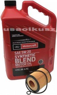 Wkład filtra oraz olej silnika Motorcraft 5W20 Mercury Milan 2,3 16V