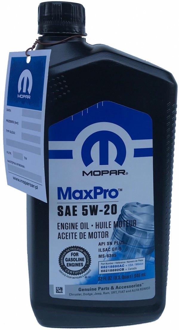 Olej silnikowy 5W20 MOPAR GF-5 MS-6395 0,946l