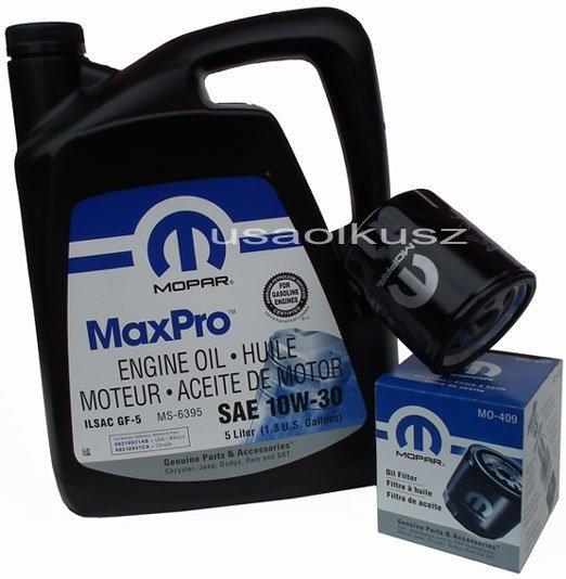 Oryginalny filtr oleju oraz olej MOPAR 10W30 Chrysler Neon