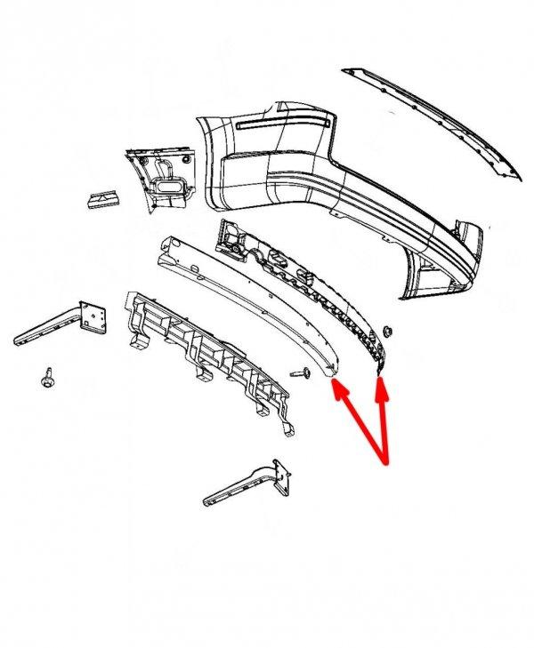 Belka z absorberem tylnego zderzaka Chrysler Voyager Town Country 2008-