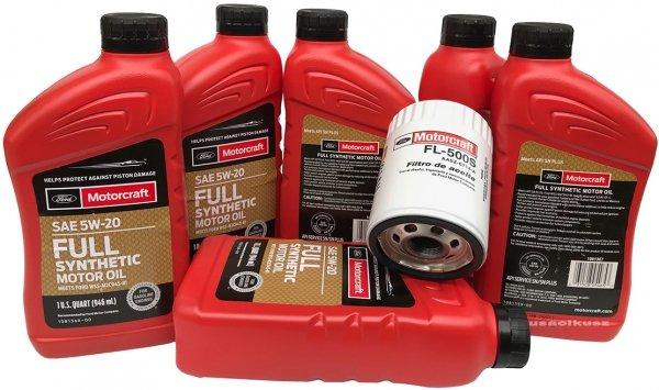 Oryginalny filtr oraz olej silnikowy Motorcraft 5W20 Full Synthetic Lincoln MKX 2009-