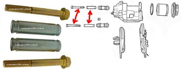 Prowadnice + śruby przedniego zacisku Jeep Wrangler -2006
