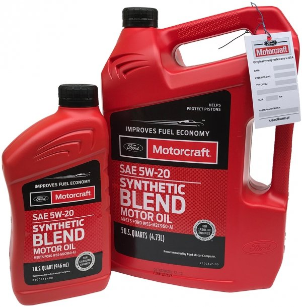 Olej silnikowy Motorcraft 5W20 SYNTHETIC BLEND MOTOR OIL 5,67l Lincoln Mercury