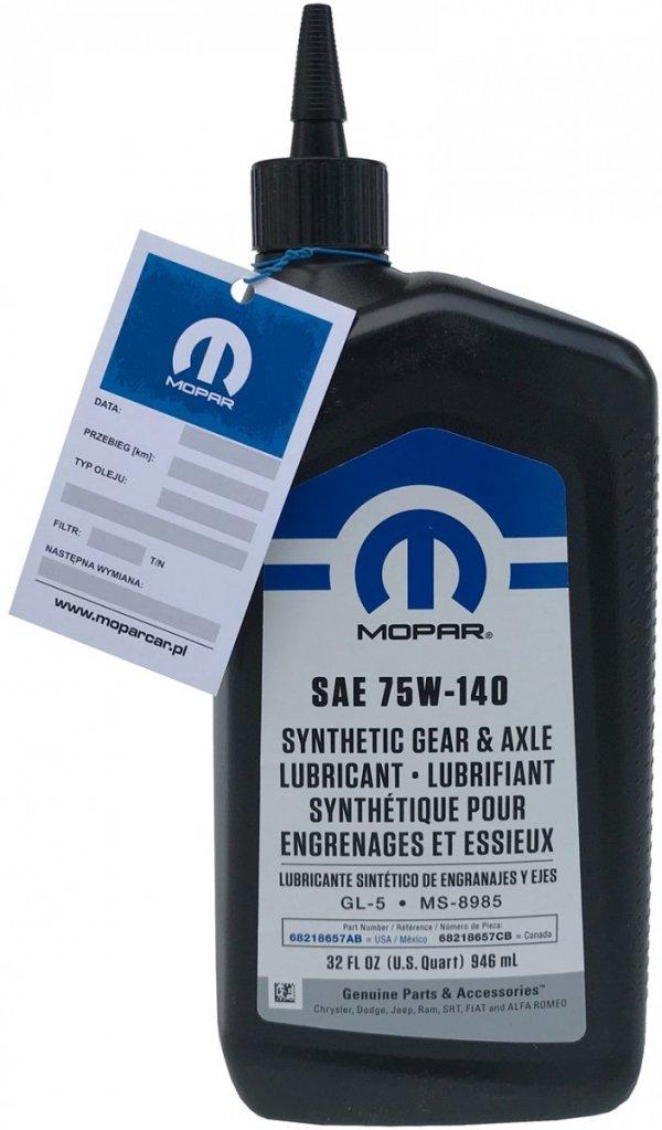 Oryginalny olej mostu 75W140 MOPAR MS-8985