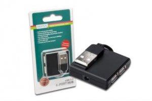Hub USB DIGITUS DA-70217 4xUSB 2.0 pasywny, czarny