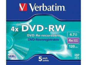 DVD-RW Verbatim 4.7GB X4 MATT Silver (5 Jewel Case)