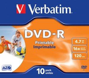 DVD-R Verbatim 4.7GB X16 Printable (10 Jewel Case)
