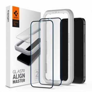 Spigen szkło hartowane ALM Glass FC do iPhone 12 / 12 Pro czarna ramka 2 szt