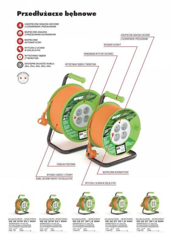 Przedłużacz bębnowy Acar M01895 25m pomarańczowy