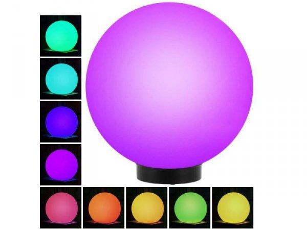 Lampa solarna GreenBlue GB165 wolnostojaca ogrodowa kula 25x25x58cm, kolorowy LED