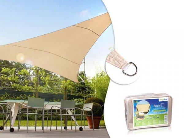 Żagiel ogrodowy GreenBlue GB502 zacieniacz UV poliester 5m trójkąt kremowy hydrofobowa powierzchnia