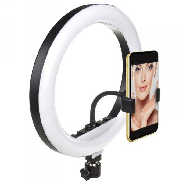 Lampa pierścieniowa 10'' LED 12W statyw 1,1m Maclean MCE610 samowyzwalacz, bluetooth, zmiana barwy światła, zmiana jas