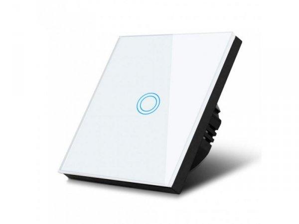 Włącznik dotykowy światła Maclean MCE702W pojedyńczy, szklany, biały z okrągłym przyciskiem, wymiary 86x86mm, z podświetleniem p