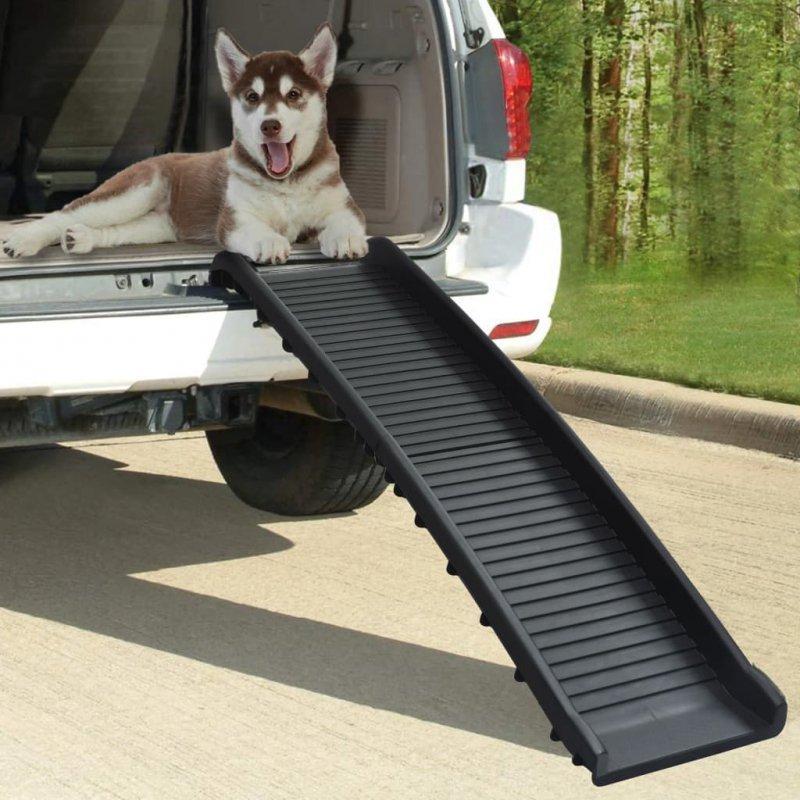 Składana rampa dla psów, czarna, 155,5 x 40 x 15,5 cm