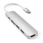Satechi USB-C Slim Multiport V2 HUB - USB 3.0 / HDMI / USB-C(PD) / microSD / SD / Silver (srebrny)