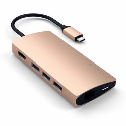 Satechi MultiPort Ethernet V2 HUB UCB-C / Ethernet / 3xUSB 3.0 / HDMI / USB-C(PD) / SD / microSD Gold