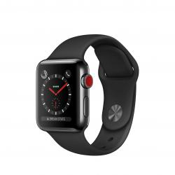 Apple Watch Series 3 / GPS + LTE / Koperta 38mm ze stali nierdzewnej w kolorze gwiezdnej czerni / Pasek sportowy w kolorze czarnym