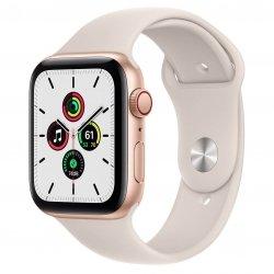 Apple Watch SE 44mm GPS + Cellular Aluminium w kolorze złotym z paskiem sportowym w kolorze księżycowej poświaty
