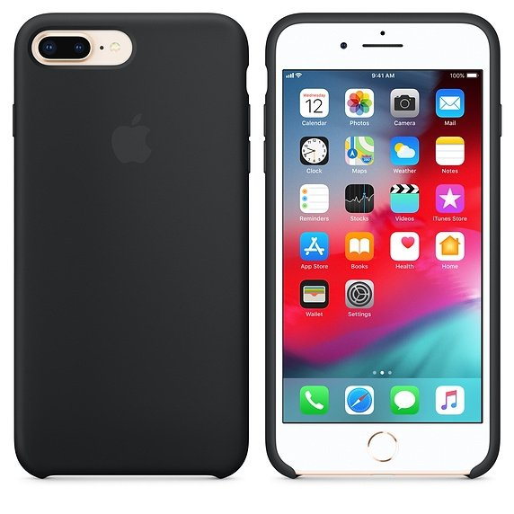 Apple Silicon Case Etui do iPhone 7/8 Plus Black (czarny)