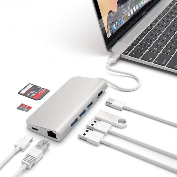 Satechi USB-C Multiport Ethernet HUB - 3xUSB 3.0 / Ethernet / HDMI / USB-C (PD) / SD / microSD / Silver (srebrny)