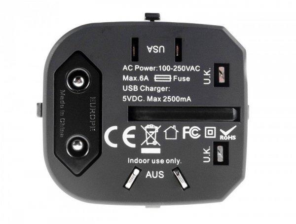 Adapter Podróżny, Przejściówka do Gniazdka Green Cell ® Uniwersalny z Dwoma Portami USB UK / USA / AUS / Chiny