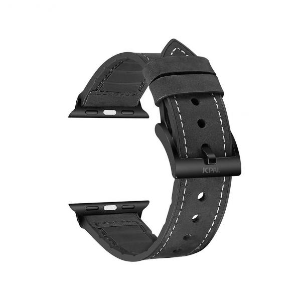 JCPAL Gentry Leather Band Black - Pasek do Apple Watch 42mm, 44mm (czarny)