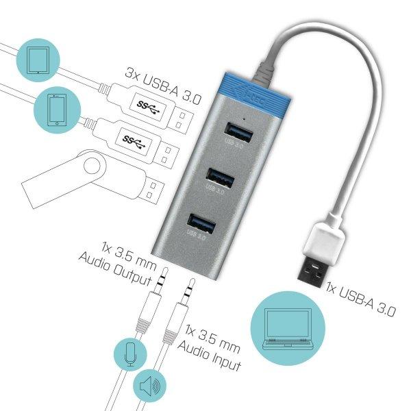 i-tec USB 3.0 Metal HUB 3 Port + Audio Adapter, 3x USB 3.0/2x Audio