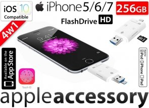Pamięć FlashDrive do iPhone 5 SE 6 7 Plus 256GB SD Reader