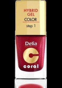 Delia Cosmetics Coral Hybrid Gel Emalia do paznokci nr 13  ciemno czerwony perłowy 11ml