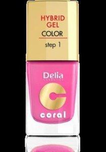 Delia Cosmetics Coral Hybrid Gel Emalia do paznokci nr 22 landrynkowy róż 11ml