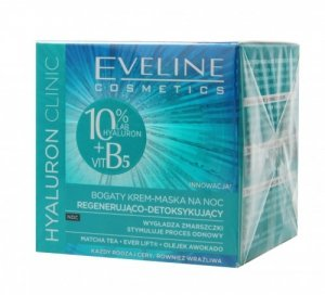 Eveline Hyaluron Clinic Bogaty Krem-Maska regenerująco-detoksykujący na noc  50ml