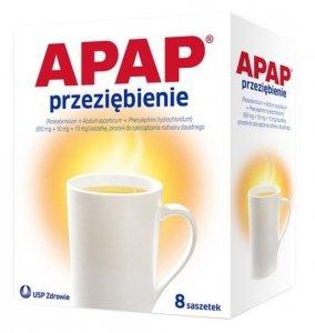 APAP Przeziębienie 8 saszetek. Proszek do sporządzania roztworu doustnego.