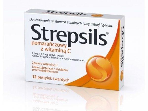 STREPSILS pomarańczowy z VIT.C x 24past.